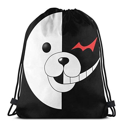 N / A Bolsa de regalo de cuerda, gimnasio a granel, paquete de cincha para hombres y mujeres, bolsa de viaje ligera, bolsa de fitness deportiva, mochila con cordón, Monokuma Danganronpa