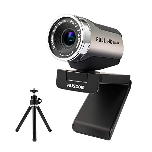 Webcam 1080P with Tripod Stand, 2021 [Upgraded] AUSDOM AW615S USB Plug&Play FHD Web Camera with Microphone