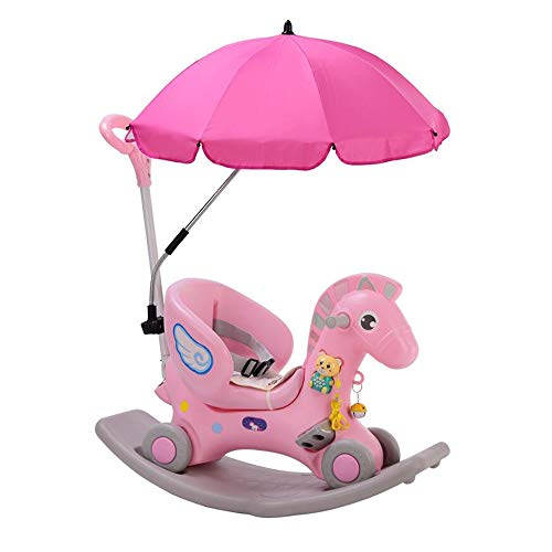 Great Deal! YUMEIGE Rocking Ride-Ons Rocking Animal,with Parasol, Push Handle, Kid Riding Toys/Horsex ,PP Material、Rocking Horse,Children Over 1 Year Old Gift, Exercise Balance (Color : Pink)