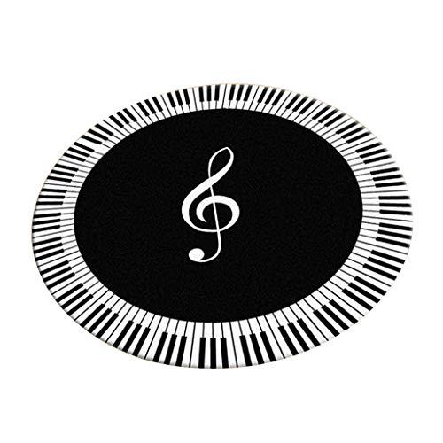 Teppich-Runde Decke Multi-GrößE Einfacher Frischer Stil Mischmaterial Wohnzimmer Schlafzimmer Restaurant Nachttisch TüR Im Freien Wasserdichte Rutschfeste Decke Waschbar Klavier Musik Hinweis Streif