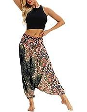 Dames Harem Broek Gewoontjes Los Breed Been Hippy broek - Hoge Taille Boheemse Stijl Dans Yoga Pilates Broek