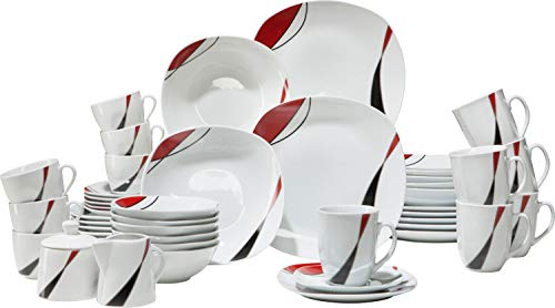 Gepolana Kombiservice, Tafelservice, Kaffeeservice, Servierset, Geschirrset 46-tlg. Porzellan - spülmaschinengeeignet, mikrowellengeeignet, frische Blumendekor - für 6 Personen
