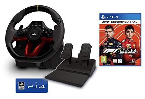 Volant et pédales PS4 [Nouveau modèle] Sans fil Wireless officiel Sony PS4 sous licence + Formule 1 2020 - F1 2020