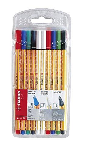 Fineliner mit löschbarer Tinte & Tintenkiller im Set - STABILO point 88 colorkilla/erasable -10er Pack - 2 x grün, 2 x rot, 2 x blau, 2 x schwarz, 2 x Tintenlöscher