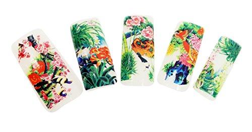 Demarkt 10 Pièces Sticker Autocollant Nail Art Beaucoup de Design de Fleur Numéro de 471