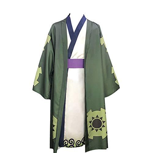 One Piece Roronoa Zoro Cosplay Disfraz Kimono Bata Capa cinturón Traje Completo Disfraces de Halloween para Hombres niños
