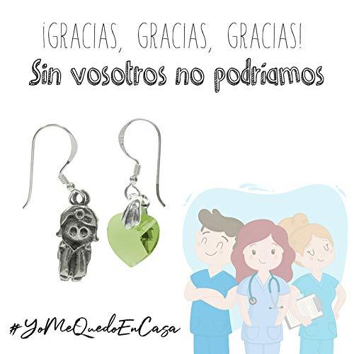 Pendientes asimétricos doctora y corazón de cristal Plata de Ley con mensaje de agradecimiento para doctoras y enfermeras - Regalos coronavirus #YoMeQuedoEnCasa