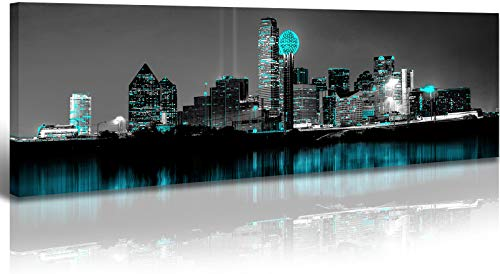 Dallas Skyline Wall Art Black and White USA City Paintings Decor Aqua Green Skyscrapers Cityscape Night Scene Picture on Canvas for Home Modern Landscape Artwork Decorations Living Room Stretched Framed Ready to Hang