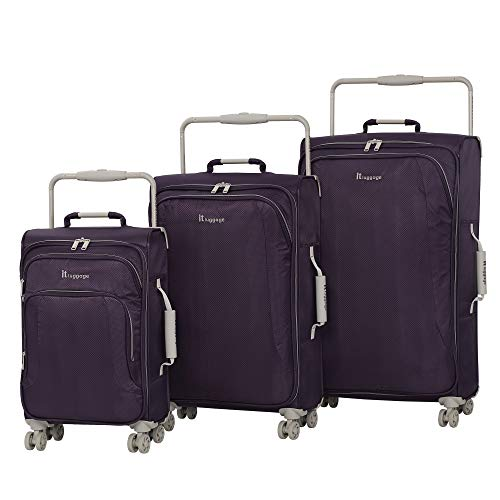 IT Luggage World's Lightest 8 Wheel 3 Piece Set, Purple Pennant With Cobblestone Trim, One Size