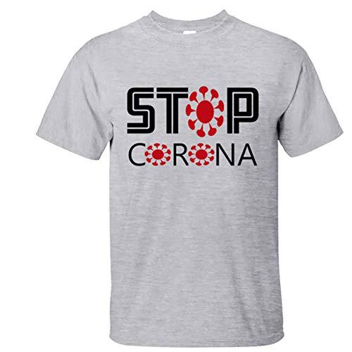 W&TT Hombres Mujeres Novedad Coronavirus Covid-19 Advertencia Camiseta Cuello Redondo Resistencia de Manga Corta Corona Virus Camisetas,Gris,XXXL