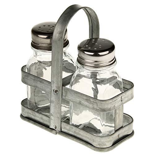 Macosa BZ1020576 Zout- & peperstrooier in metalen mand hoekig peperstrooier zoutstrooier industriële decoratie tafelservies kruidenstrooier keuken