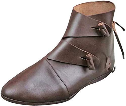 kunfang Mittelalterliche Schnürschuhe aus Leder, Herren Mittelalter Wikinger Schuhe Vintage Runder Kopf Stiefeletten Weich Flacher Boden Ritterstiefel
