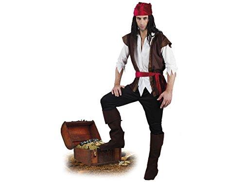Déguisement d'homme pirate Adulte T-shirt à l'effet chemise, gilet, bandana, pantacourt, ceinture et des sur-bottes Ce costume est parfait pour incarner un véritable pirate lors de vos soirées déguisées Parfait pour un spectacle carna, choisir:83533 tailles 54-56
