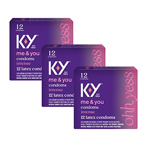 Condoms, K-Y Intense Latex Condoms, Silicone-Based Lubricant, Ribbed & Dotted with Specially Formulated Lube to Intensify Her Pleasure, Discreetly Packaged, 12 Count (Pack of 18)