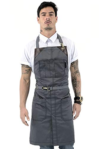 Under NY Sky No-Tie Armor Gray Apron – Durable Twill with Leather...