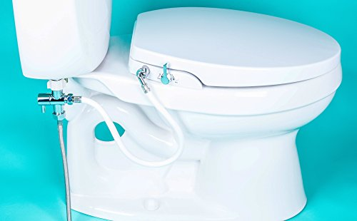 Product Image of the GenieBidet [ROUND] Seat-Self Cleaning Dual Nozzles. Rear & Feminine Cleaning - No wiring required. Simple 20-45 minute installation or less. Hybrid T with ON/OFF Included!