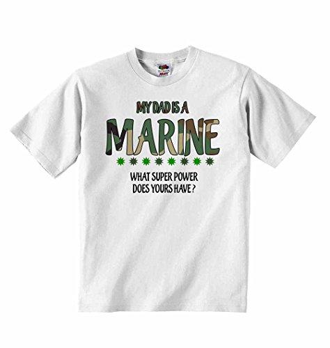My Dad is a Marine, quel super pouvoir avez-vous ? T-shirt unisexe pour garçons et filles - Blanc - 5 à 6 ans