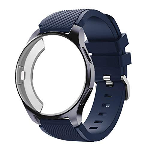 Caso de silicona + banda para Samsung Galaxy Watch 46mm / 42mm Correa Strap Gear S3 Frontier Band Sports Wamkband + Protector Watch Case 1033 (Band Color : Midnight Blue 8, Band Width : Gear S3)