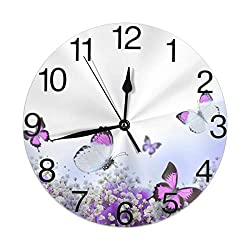 KiuLoam Blue Hydrangeas Flowers and Butterfly Round Wall Clock Silent Non Ticking Battery Operated Easy to Read for Student Office School Home Decorative Clock Art