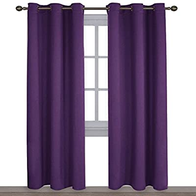 NICETOWN Triple Weave Home Decoration Thermal Insulated Solid Ring Top Blackout Curtains/Drapes for Bedroom(Set of 2, 42 x 84 Inch, Royal Purple)