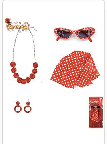 Carnavalaccessoire jaren 60 4-delige set in retro-stijl voor kindercarnaval meisjes in de jaren 60 Levering: 1 bril, 1 halsdoek, 1 halsketting en 1 oorbellen. Jaren 60 jaar kostuum. Cosplay Carnaval voor meisjes