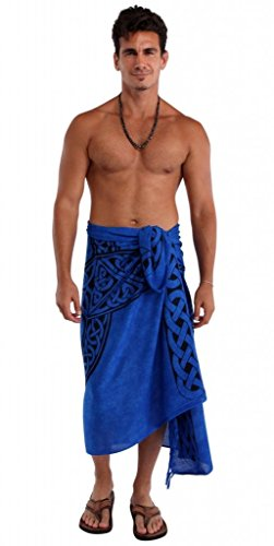 1 World Sarongs Mens Celtic Sarong in Celtic Cross Royal Blue