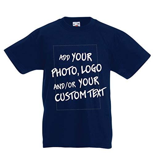 lepni.me Camiseta para Niño/Niña Regalo Personalizado, Agregar Logotipo de la Compañía, Diseño Propio o Foto (14-15 Years Azul Oscuro Multicolor)