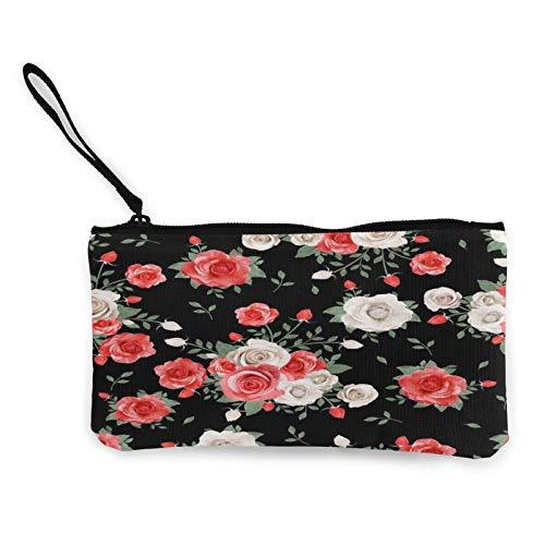 Impresionante estuche de lona con diseño de rosas rojas y flores, para viaje, para lápices y lápices, con asa, efectivo, con cremallera, bolsa de aseo portátil