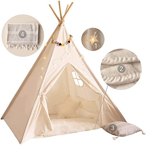 Kids Teepee Tent for Kids - with Mat, Light String, Pillow & Blanket | Teepee Tent for Kids | Kids Play Tent | Kids Teepee Play Tent | Toddler Teepee Tent for Girls & Boys