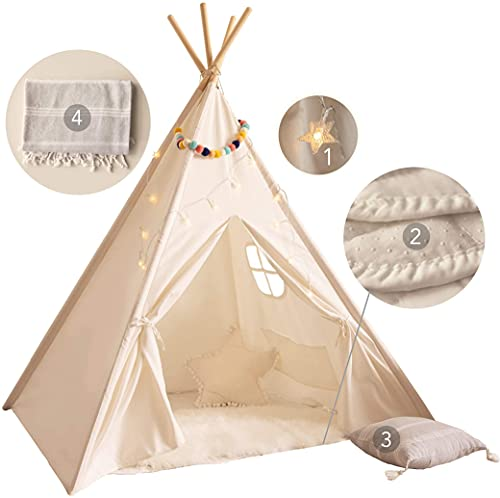 Kids Teepee Tent for Kids - with Mat, Light String, Pillow & Blanket | Teepee...