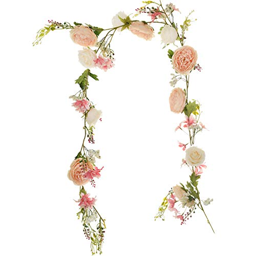 Lvydec Artificial Peony Flower Garland - 6ft Silk Peony Garland with Pink and White Flowers for Wedding Party Table Decoration