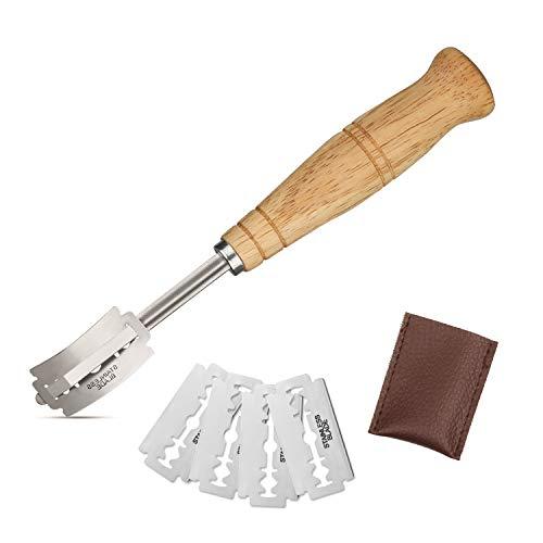 Cortador de pan Faminess, hecho a mano, cortador para masa de pan, con 5 cuchillas y cubierta protectora de cuero auténtico, para hacer pan y hornear
