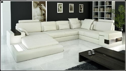 Contemporary Plan Modern Ivory Italian Design Leather Sectional Sofa