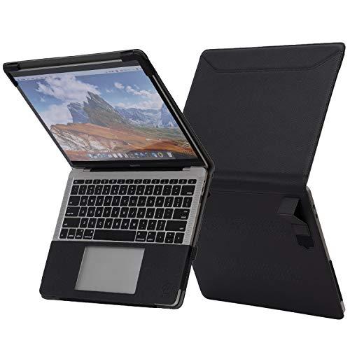 TYTX Funda Macbook Pro 13 Pulgadas con Soporte y Ventilaciones 2020-2016 (A2338 A2159 A2289 A2251 A1989 A1706 A1708),Funda de Cuero Protectora para MacBook Pro 13.3 Pulgada, Negro