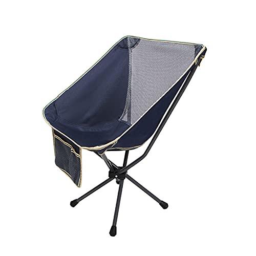 JLJLJL Silla de Camping Plegable de Estilo Libre al Aire Libre, Compacto portátil para Campamento al Aire Libre, Viajes, Playa, Picnic, mochilero Ligero Navy Blue-A