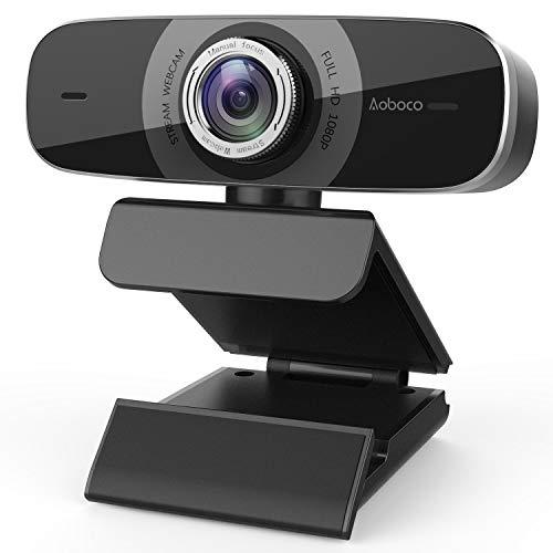 Aoboco Webcam HD 1080p, USB Streaming Cámara con Doble Micrófono Reductor de Ruido para PC, Mac, Windows, portátil, Twitch Xbox One, Skype OBS Xsplit