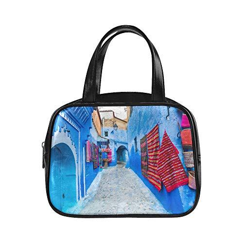 Bolso de mano estampado Calle estrecha Chefchaouen Blue City Marruecos Bolso de mano estampado Bolsos de moda para mujer Bolso de mano de cuero de pu Bolso de mano de mujer