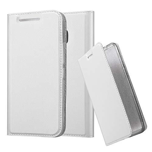 Cadorabo Hülle für HTC One M9 in Classy Silber - Handyhülle mit Magnetverschluss, Standfunktion & Kartenfach - Hülle Cover Schutzhülle Etui Tasche Book Klapp Style