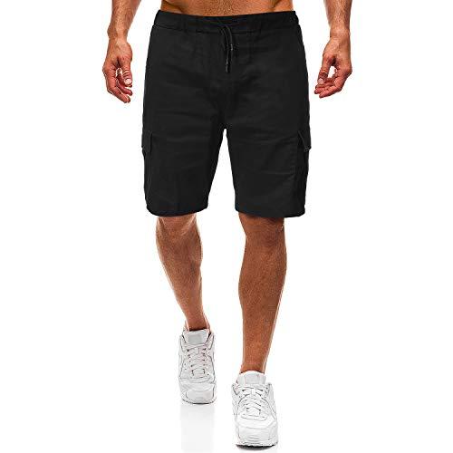 Shenglila Mens Summer Casual Loose Fit Elastic Waist Multi Pocket Cargo Shorts(Black,S)