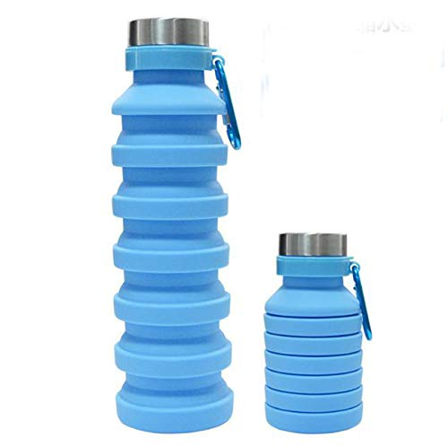 MORGANA COLLAPSIBLE WATER BOTTLE- Reusable BPA Free , Silicone Foldable - Sport Water Bottle (Light blue)