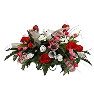 Red, Pink, White Roses Cemetery Flower Arrangement, Headstone Saddle, Grave, Tombstone Arrangement, Cemetery Flowers SV4036