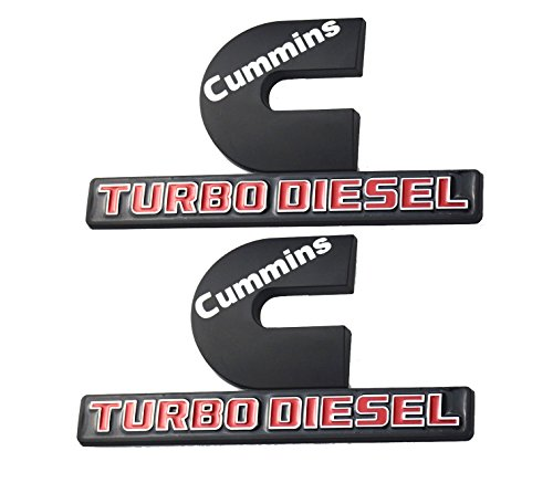 2 Pack Cummins Turbo Diesel Emblems, Badges High Output Nameplate Replacement Sticker for 2500 3500 Fender Emblem(Black)