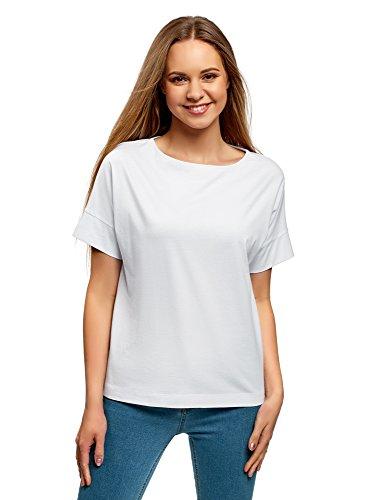 oodji Ultra Mujer Camiseta Básica de Algodón, Blanco, ES 46 / XXL