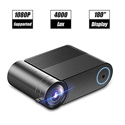 """Laiduoao Video Projector, 1080P Projector 4.3 """"LCD Light Projector with 180'' Display Area, 4000 Lumen Portable Projector with 50,000 Hrs LED Lamp Life, Full HD Projector"""