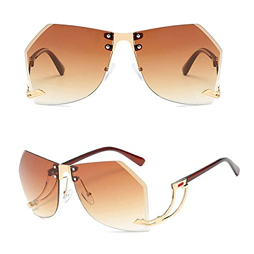 carebaby Gafas De Sol Sin Montura Irregulares para Mujer, Gafas De Sol Gradiente De Gran Tamaño, Gafas De Sol Transparentes para Mujer De Moda