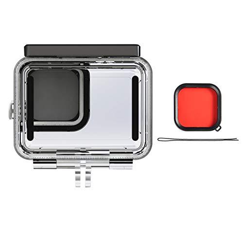 Mogzank para Go Hero 9 para Gopro9 Accesorios Negros Estuche Impermeable Cubierta de la Carcasa de Buceo Carcasa Protectora con Filtro Rojo