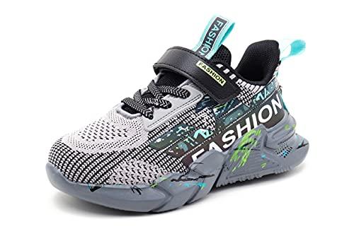 SMajong Scarpe da Ginnastica per Bambini Scarpe da Atletica Leggera per Bambini Mesh Traspirante Scarpe da Corsa Moda Casual Sneakers Ragazzi Ragazze (Grigio 38EU)