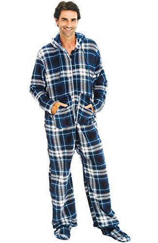 Alexander Del Rossa Men's Warm Fleece One Piece Footed Pajamas, Adult Onesie with Hood, Large Blue and White Plaid (A0320P27LG)