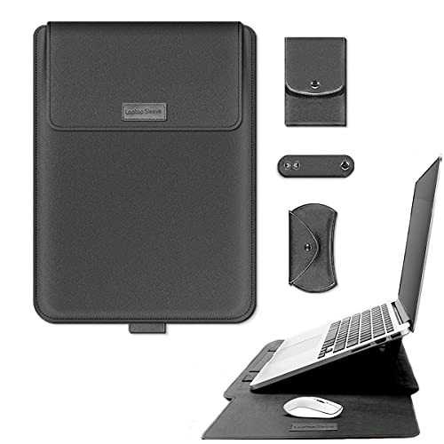 Laptop Case 15 Inch Laptop Sleeve with Stand Function 2 in 1 Laptop Stand Laptop Sleeve Case Bag PU Faux Leather Protective Case with 2012-2020 MacBook Pro 15 Notebook Bag (Grey Laptop Case)
