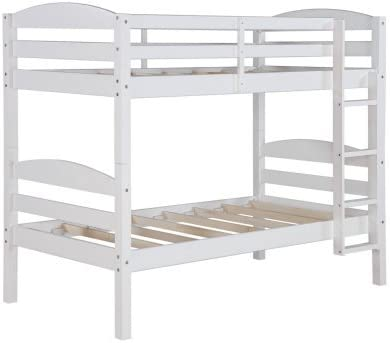 Amazon Com Better Homes And Gardens Leighton Wood Bunk Bed Twin Over Twin White Furniture Decor